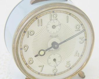 Vintage Mechanical Grey Metal Alarm Clock, Haviro, Working