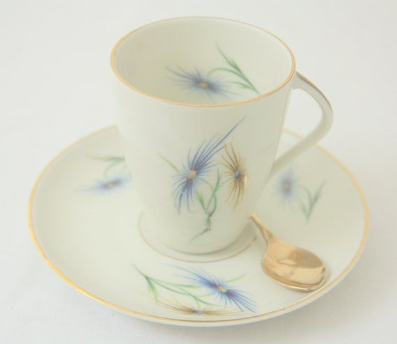Vintage Porcelain Coffeecup and Saucer, Bavaria Edelstein, Blue and Yellow Flower Decor, Germany, Numbered