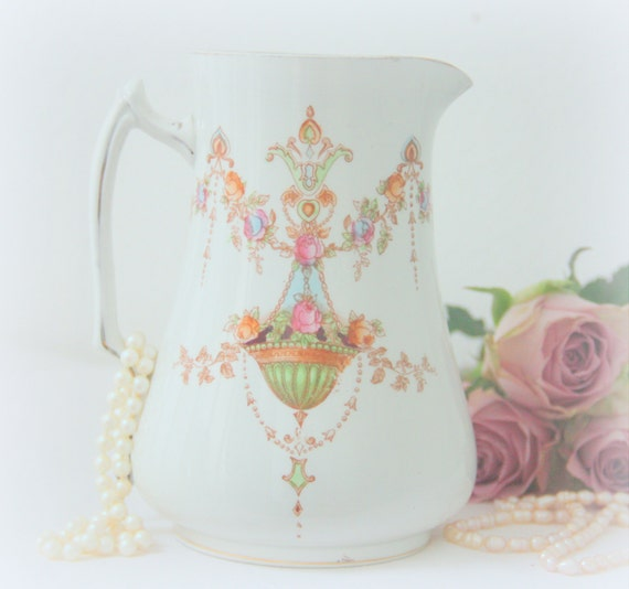 Antique Devon Ware 'Etna' Semi-porcelain Off-white Jug/Pitcher, Flower-and Guirlandes Pattern, Handpainted, Edwardian Style,England