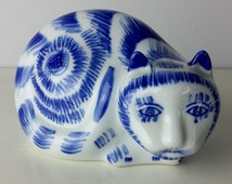 Vintage Ceramic Cat Hand Painted, Sad Cat, Cat Figurine, Chinese Cat, Cobalt Blue and White Decor, Shabby Chic Decor, Blue White Home Decor