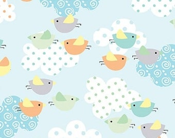 Breezy Baby - Chirp Chirp on Aqua background - by the Half Yard