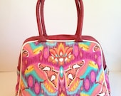 Vivian Retro style handbag - Gorgeous Tula Pink Eden Atlas in Tourmaline - Swarm in Jam with bordeaux red Portuguese cork