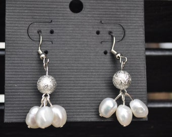 Handmade Silver and Cultured Pearl Dangle Earrings