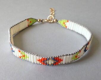 Tribal Bracelet, Neon Bead Bracelet, Chevron Bracelet, Aztec, Hippie Boho, White, Native  American Beadwork, White and Orange, Tribal Bead