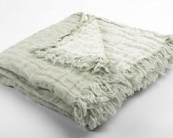 100% Linen Blanket, Eco Blanket, Light Green/Mint Linen Blanket, Linen Wrap, Linen Bed Throw