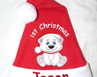 NEW Polar Bear Fleece Christmas Baby Infant Child 1st Christmas Santa Hat