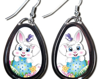 NEW Easter Bunny Photo Teardrop Earrings Holiday Jewelry by Look at Me Keepsakes
