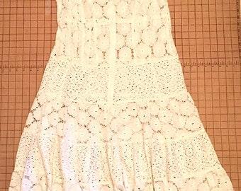 Vintage 1990s White Lace Tiered Babydoll Dress Hippie Boho Grunge