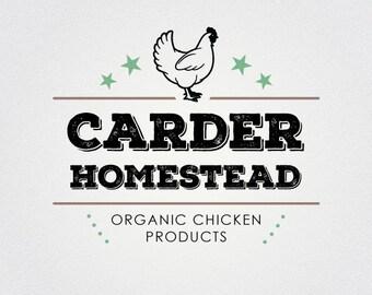Organic Farm Logo   Chicken Logo   Homestead Logo   Farm Logo   Rustic Logo   Premade Logo Design   Branding For Small Business