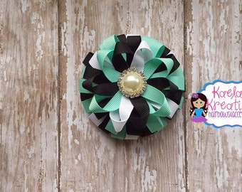 Teal and Black Hair Bow, Teal and Black Hair Bow, Black and Teal Loopy Hair Bows, Teal and Black Loopy Hair Bows, Layer Loopy Hair Bows.