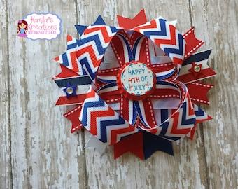 Chevron July 4th Hair Bows,Chevron Hair Bows,Red and Blue Chevron Hair Bows,4th Of July Hair Bows,Chevron Fourth Of July Hair Bows.