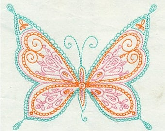 Open Delicate Filagree Butterfly Embroidery Design - Instant Digital Download