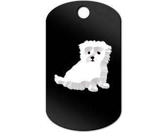 Maltese Engraved GI Tag Key Chain Dog Tag puppy v2 - MDT-139