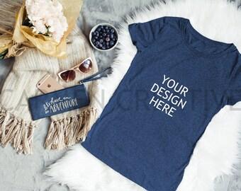 Navy Blue T-Shirt Mockup, Flat Lay T-Shirt Mockup, T-Shirt Mockups