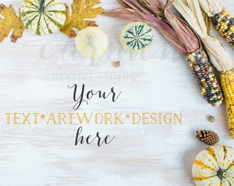 Fall Styled Stock Photography #2, Pumpkins Styled Mockup, Corn Styled Mockup, Product Photography