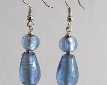 Blue Foiled Glass Earrings