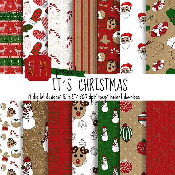 Christmas digital paper pack Christmas digital pattern with red, white, green christmas cookies, reindeer, snowman, christmas gifts, mittens