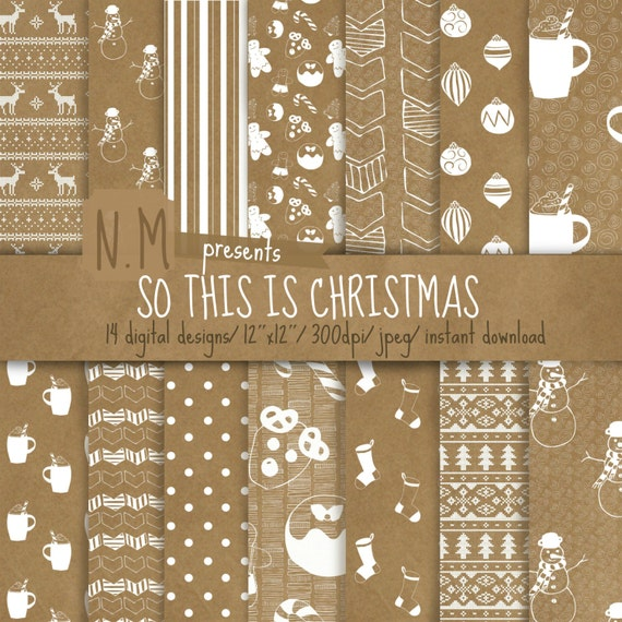 Christmas digital paper pack Christmas digital pattern kraft paper scrapbooking paper with white christmas cookies, stockings, snowman, dots