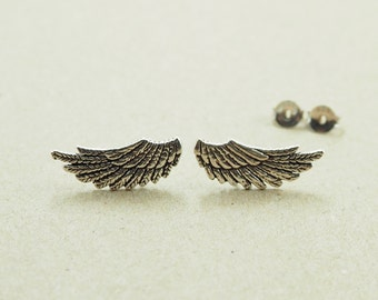 A pair of Angle Wing Stud, wing Earrings, 925 Sterling Silver, Wing Jewelry, Everyday Jewelry, Gift - SB97P