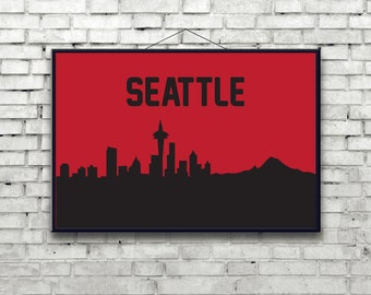 Seattle skyline Poster Art Print, The Space Needle, Mount St Helen, Washington