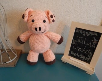 Peach Crochet Pig- Petey the Piggy