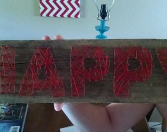 """Vintage """"happy"""" string art sign"""