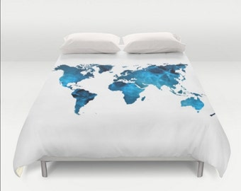 Floral map duvet cover world map duvet floral map duvet map duvet cover world map blue white twin twin xl full queen king bedspread hipster bedding dorm gumiabroncs Image collections