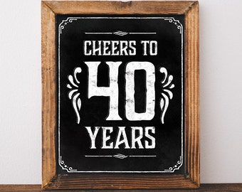 40th birthday decorations. Cheers to 40 years. Printable 40th birthday Chalkboard sign. 40th birthday centerpieces. 40th birthday ideas.