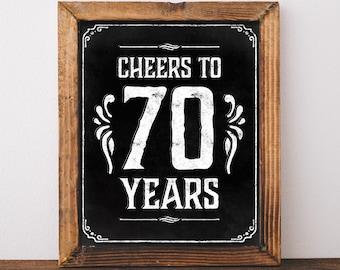70h birthday decoration. Printable 70th birthday poster. 70th birthday ideas. Cheers to 70 years birthday signs. 70th birthday centerpiece