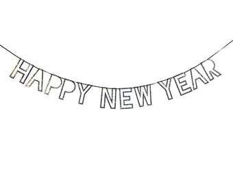"Silver Glitter ""Happy New Year"" Garland - Meri Meri Silver New Year's Eve Garland - 8 Feet Long- New Year's Eve Party Decor"