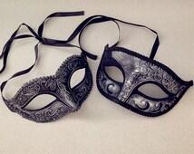 Metalic Black Silver Couple masquerade mask pair centerpiece Halloween costume party