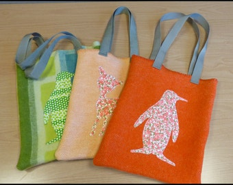 Penguin or deer bag || Recycled blankets