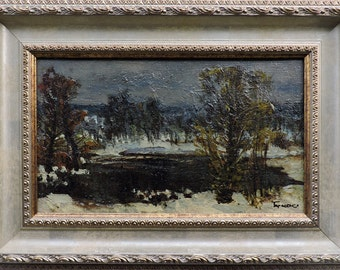"VINTAGE WINTER LANDSCAPE Original oil painting ""Lake of the Woods"" by listed Soviet Ukrainian artist Tarasenko V. 1983, Frame, Impressionism"