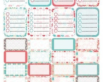Coral and Turquoise Full and Half Box Stickers