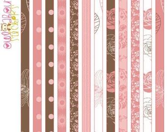 Pink and Brown Washi Strip Stickers