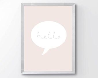 Hello Wall Art Print - Girls Room Print - Pink Wall Art Print - Nursery Wall Art - Pink Nursery Decor - Modern Kids Room Decor