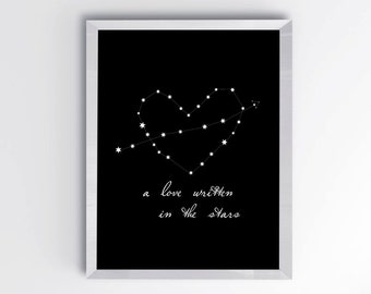 Black and White Stars PRINTABLE, Love Poster Print, Modern Nursery wall art, Black and White Wall Art, Modern Home Decor, Nursery Decor