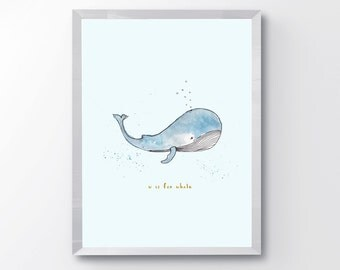 Watercolor Whale Print, W is for Whale, Whale Print, Watercolor Nursery Print, Whale Wall Art, Nursery Alphabet Print,  Watercolor Whale Art