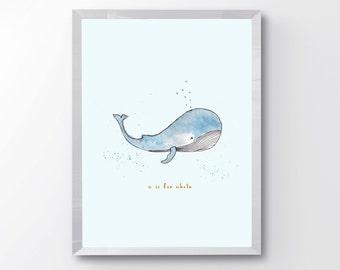 Watercolor Whale Nursery Print - W is for Whale - Nursery Animal Alphabet Print - Kids Room Decor - Whale Nursery Print - Nursery Decor