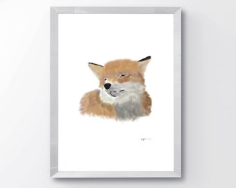 Cute Fox Print - Nursery Fox Wall Art - Fox Wall Art Print - Cute Fox Art - Animal Nursery Art - Nursery Animal Print - Smiling Fox Print