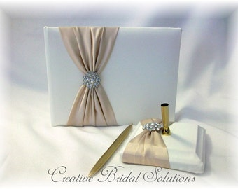 Wedding Guest Book and Guest Pen in Ivory and Champagne, Ivory Guest Book, Ivory Wedding Guest Book