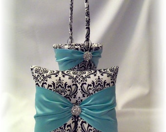 Black and White Damask and Blue Wedding Ring Bearer Pillow and Flower Girl Basket