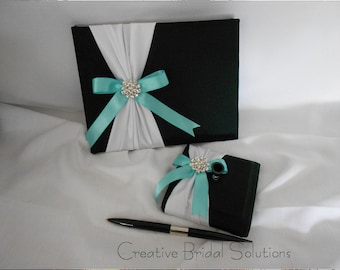 Black and White with Blue Wedding Guest Book Guest Pen