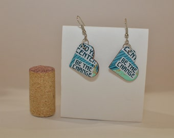 Be the Change Small Heart Earrings made from Peace Tea can