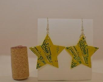 Star earrings made from ' Guayaki's Yerba Mate- Enlighten Mint' aluminum can
