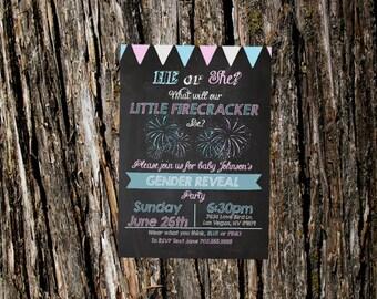 Printable Gender Reveal Invite- Gender reveal Party- Firecracker Firework Sparkler Theme