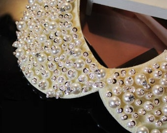 Embellished Pearl Peter Pan Collar Necklace Cream White Faux Pearl & Gold Sequins with Clear Crystal Collar