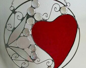 Heart Swirl 8 inch Suncatcher One of a Kind