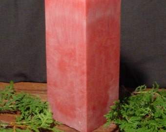 "Homemade 3"" red square pillar candle, palm wax"