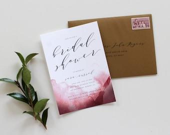 Calligraphy Bridal Shower Invitation | Watercolor Bridal Shower Invitation, Bridal Shower Invitation, Printable, Modern Shower Invitation